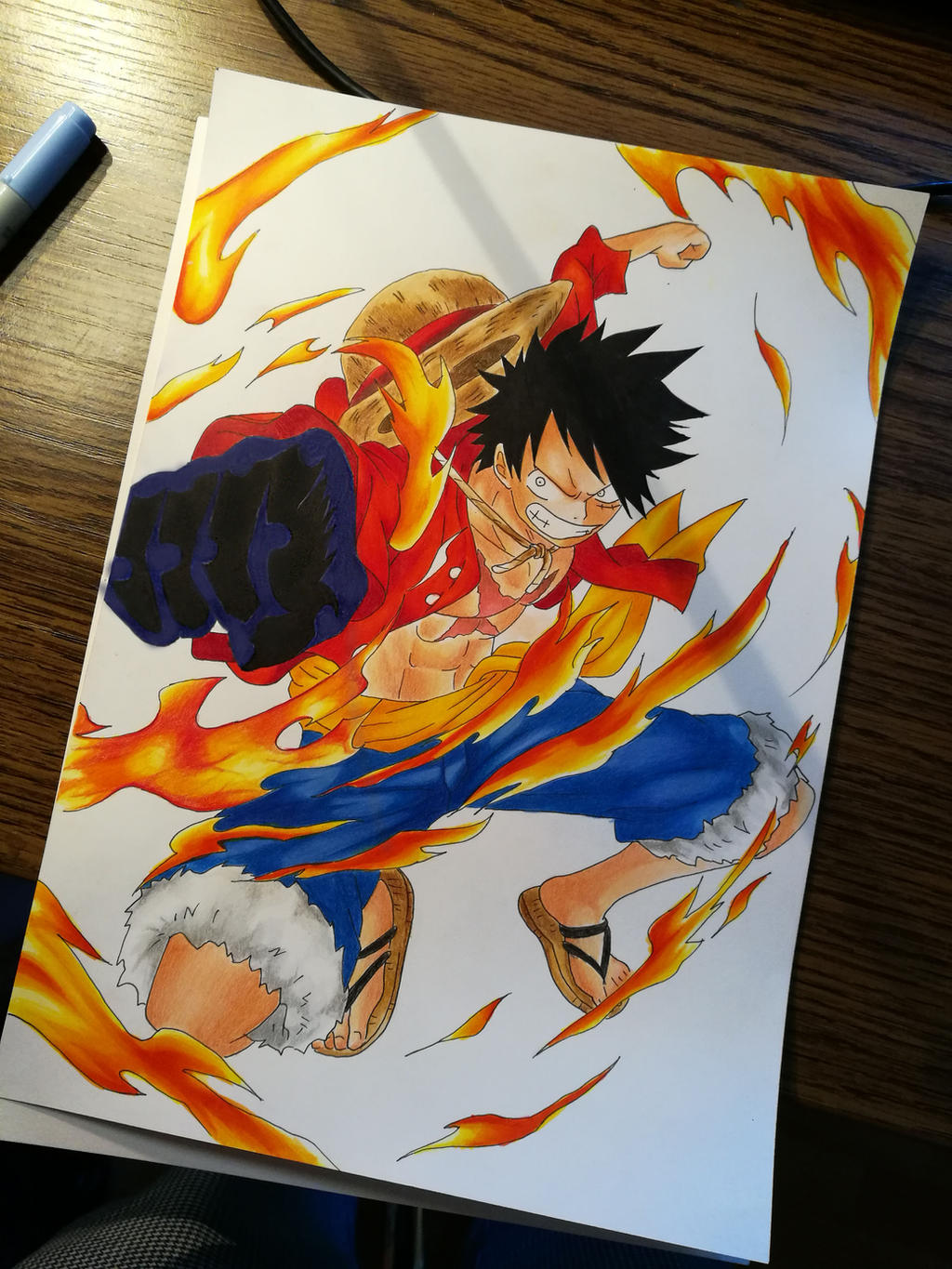 luffy one piece red hawk color drawing by tak17hiro on deviantart