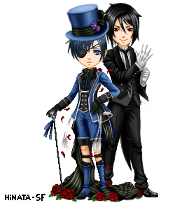 Ciel Phantomhive and Sebastian by Hinata-sf