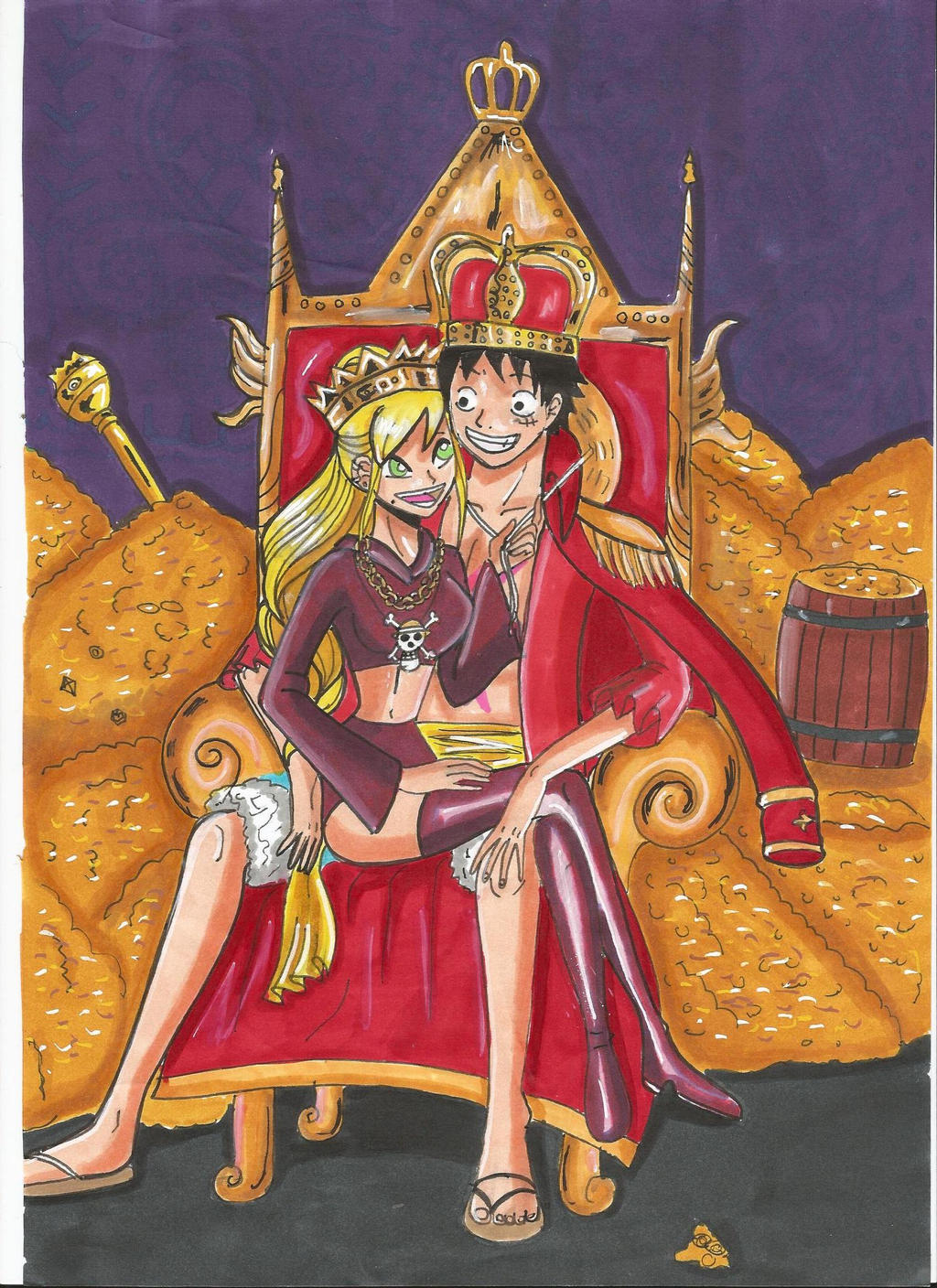 One Piece:Luffy and Leena become a king and queen by ...