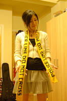Knitting- Police Tape scarf by AZURE-m