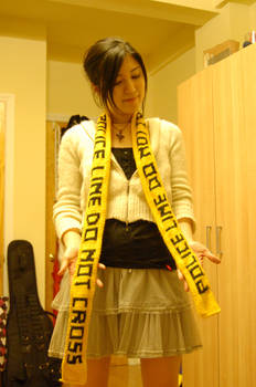 Knitting- Police Tape scarf