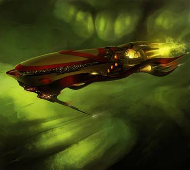 Alien spaceship in the mist