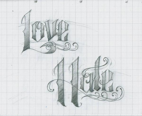love hate tattoo lettering by 12kathylees12 on deviantart. Black Bedroom Furniture Sets. Home Design Ideas
