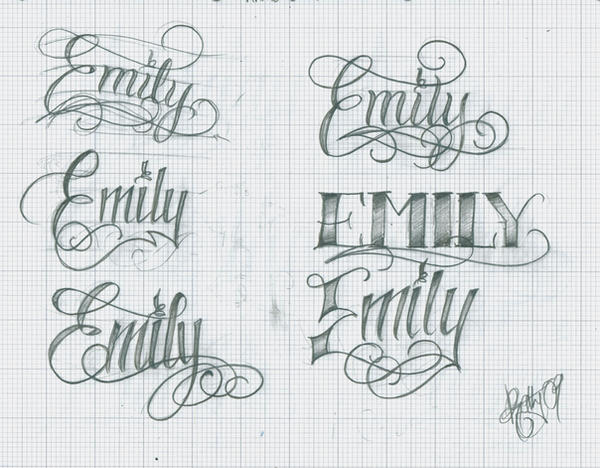 Tattoo lettering emily by kathylees on deviantart