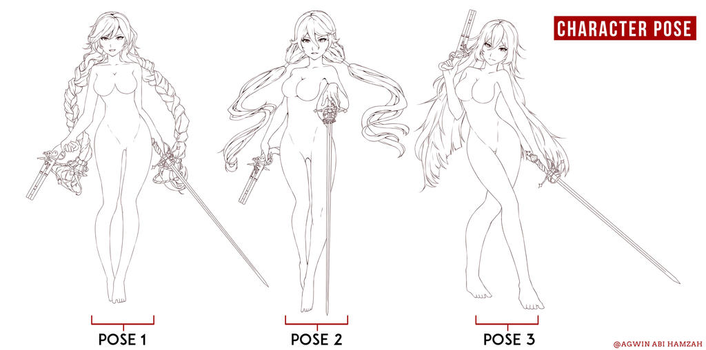 Skect Pose Line art by abiboge