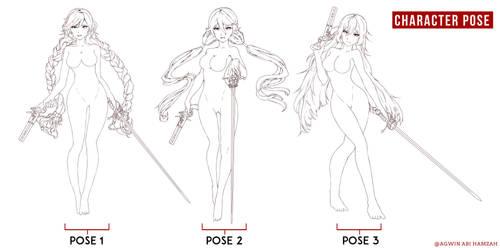 Skect Pose Line art
