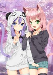 cute neko and panda girl