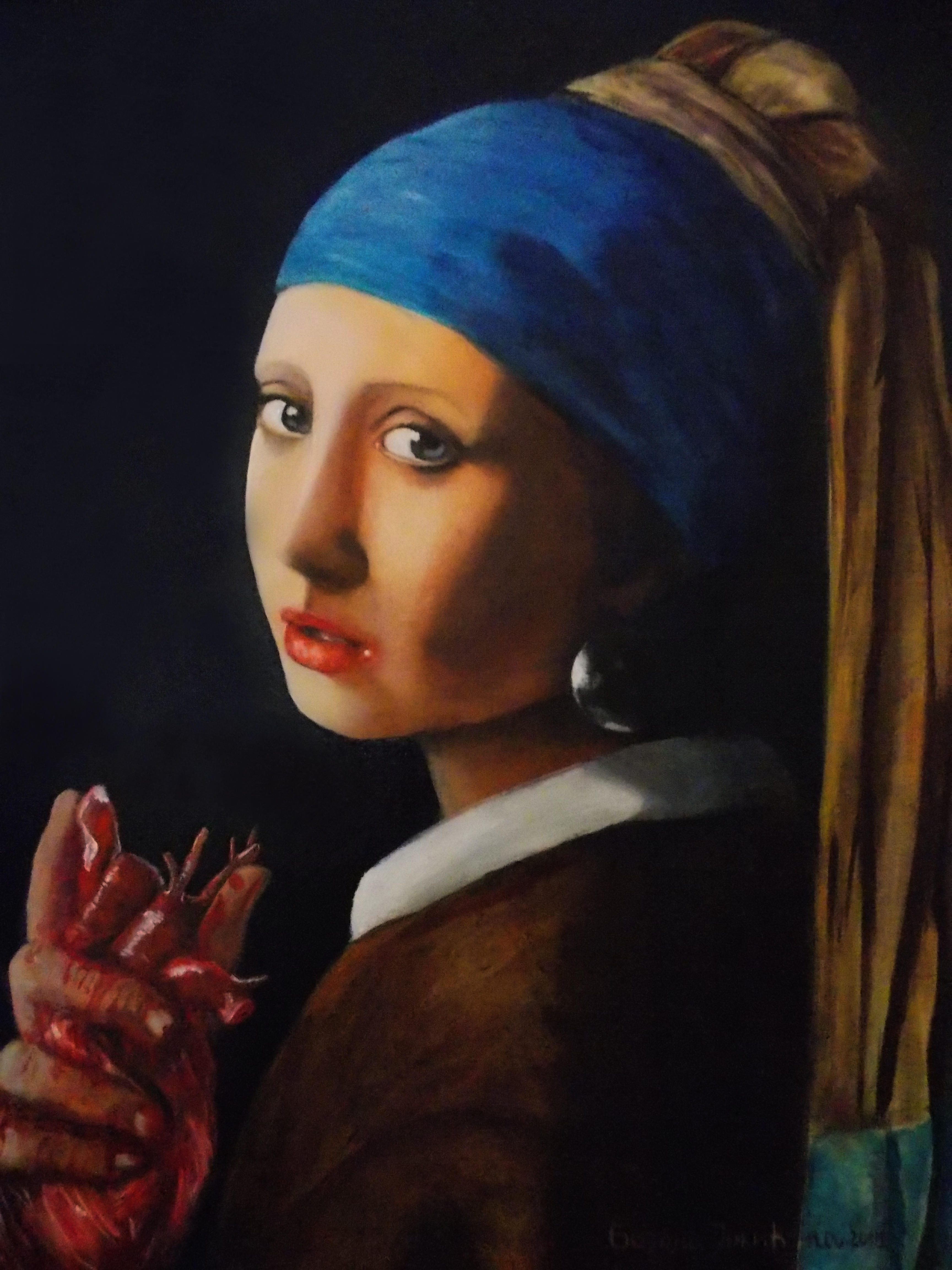 Girl with a Pearl Earring (holding something) by ...