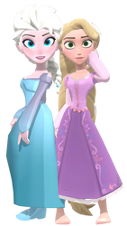 MMD Infinity Elsa and Rapunzel by frede15