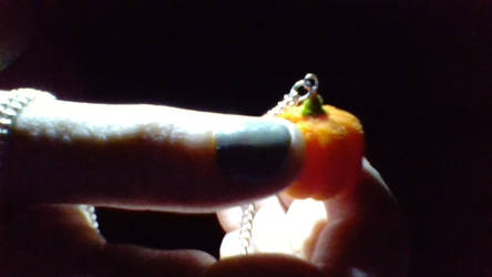 flocked pumpkin necklace!