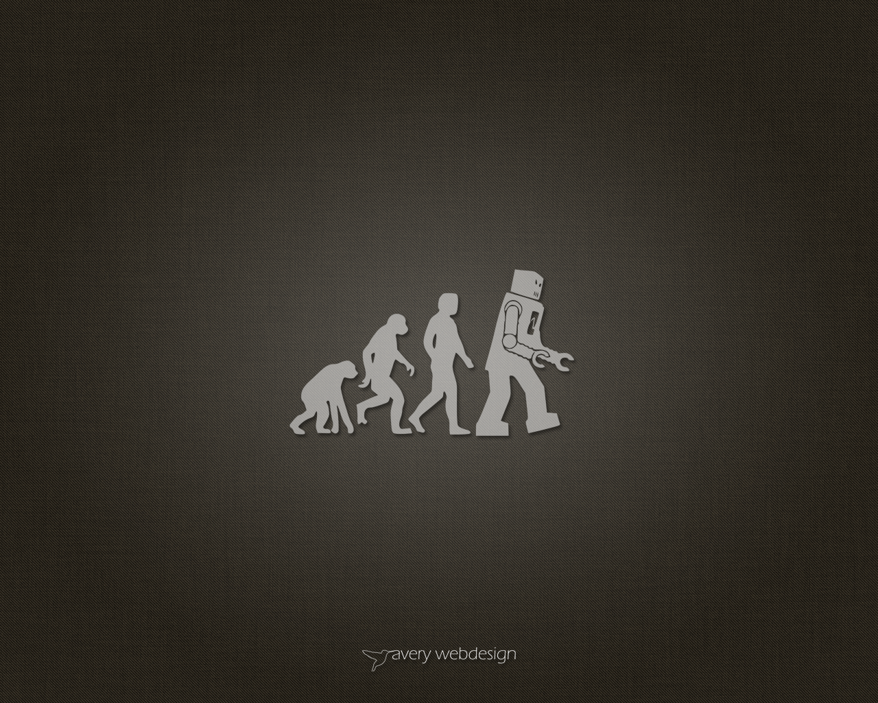 Robot Evolution Denim Wallpaper in Brown by averywebdesign