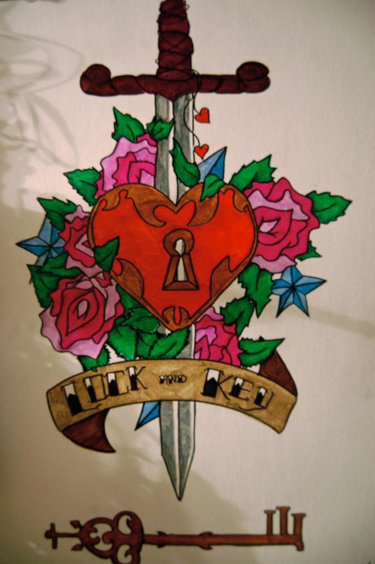 Key Art Design : Lock and key tattoo design i by cinderelanigtmare on