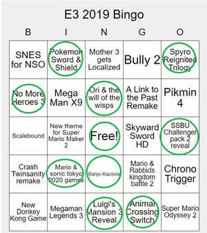 My E3 2019 Bingo Card