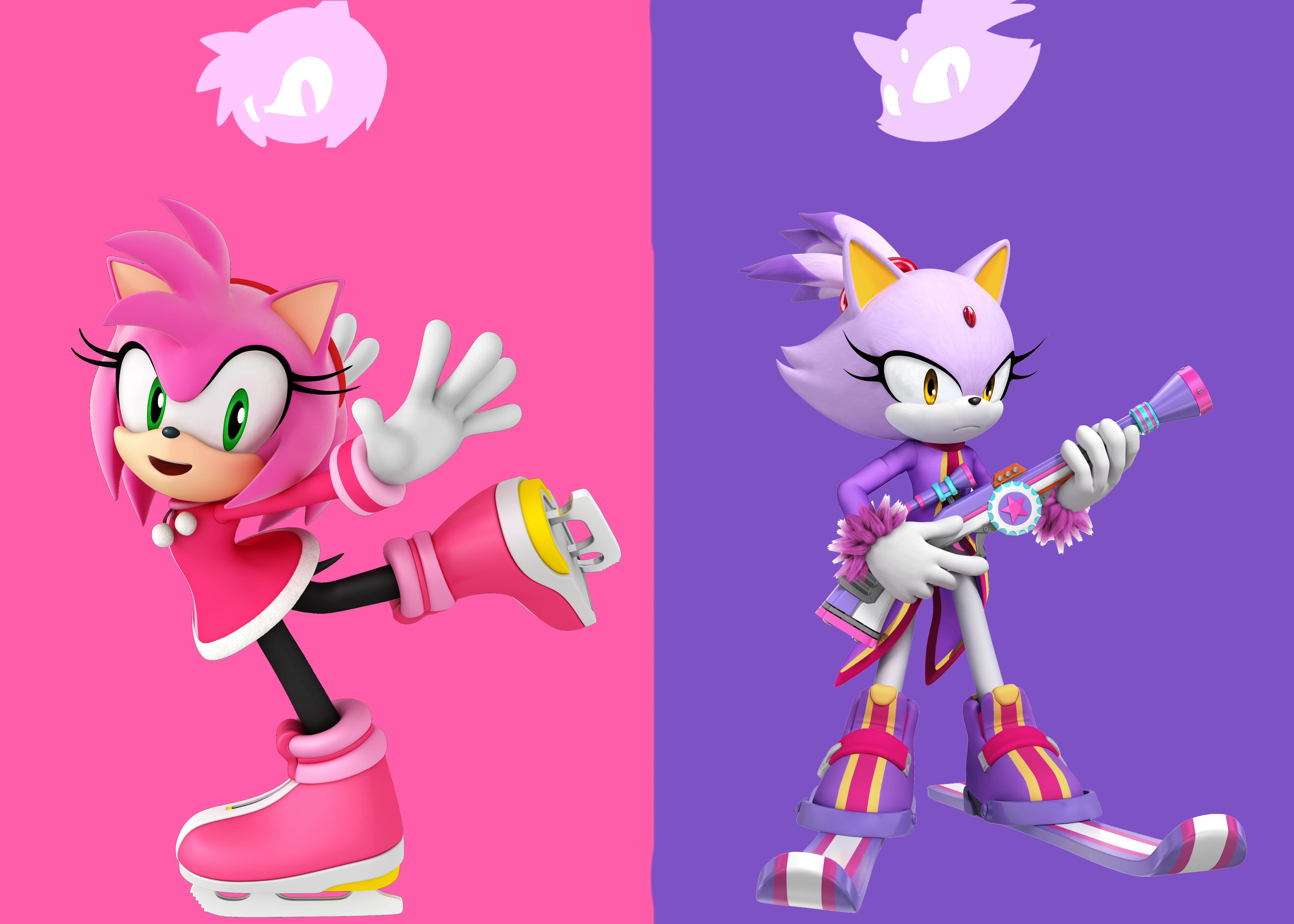 Amy and blaze in winter outfits by griddler6 on deviantart