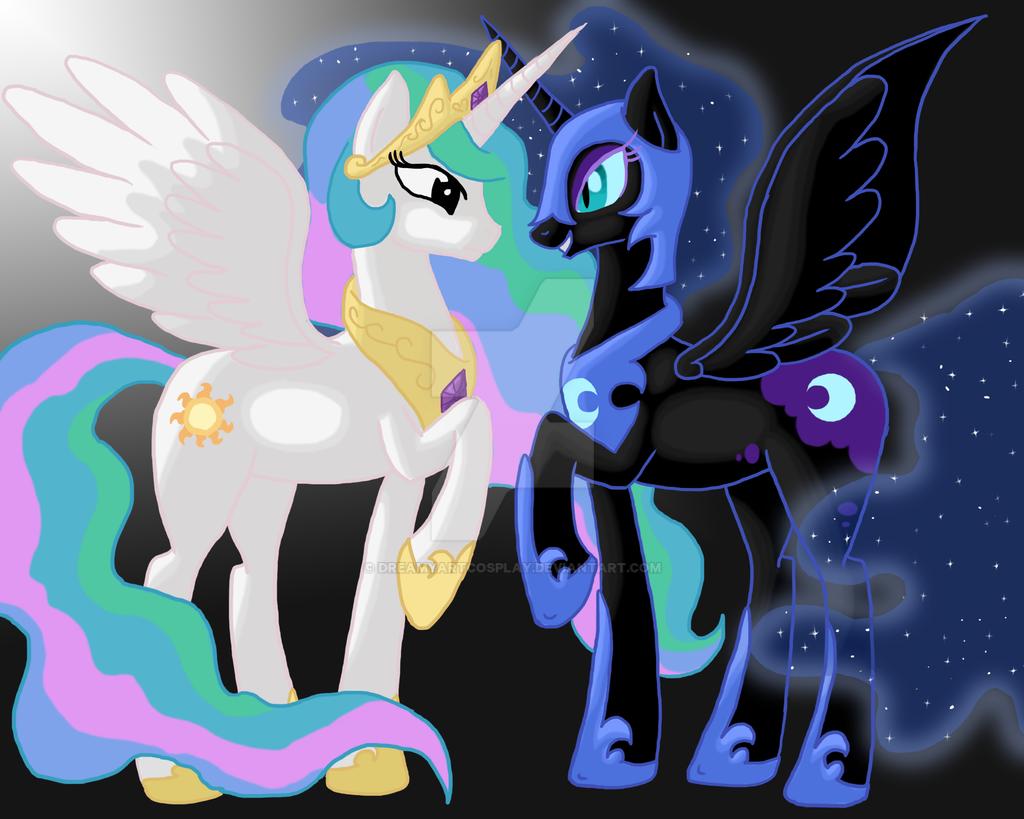 Celestia VS Nightmare Moon by DreamyArtCosplay on DeviantArt