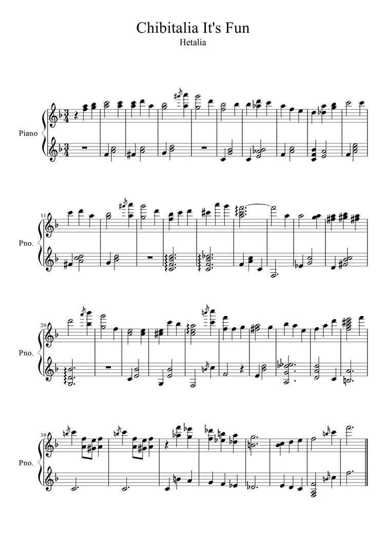 Chibitalia It's Fun Sheet Music by OtakuKonami