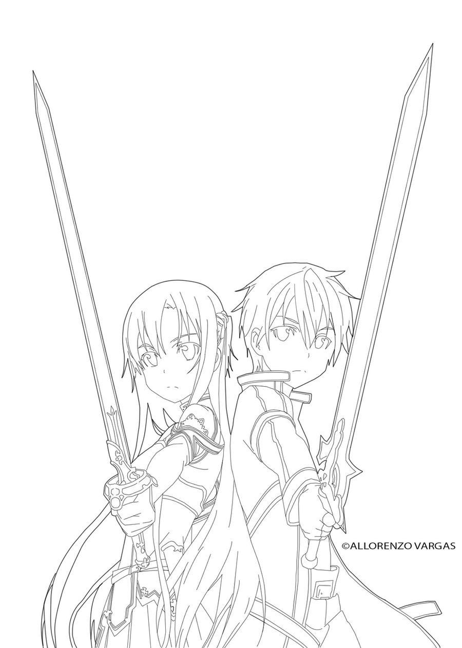 Sword Art Online Kirito X Asuna Line By Puuuusa