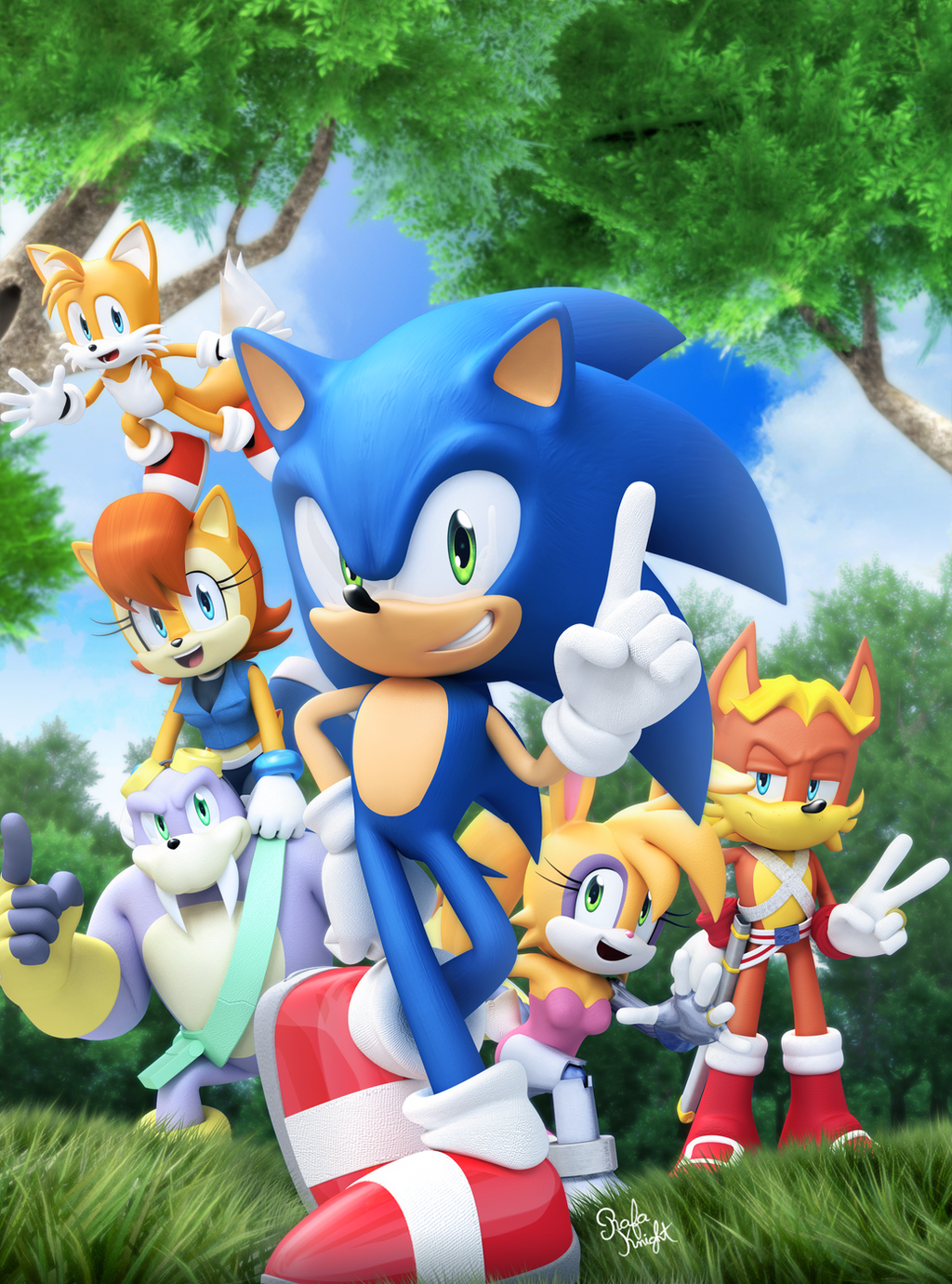 Original - Sonic Super Digest 6 Cover by Elesis-Knight