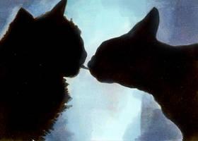 ATC No. 004 - Where Kitties kiss goodnight by Ileina