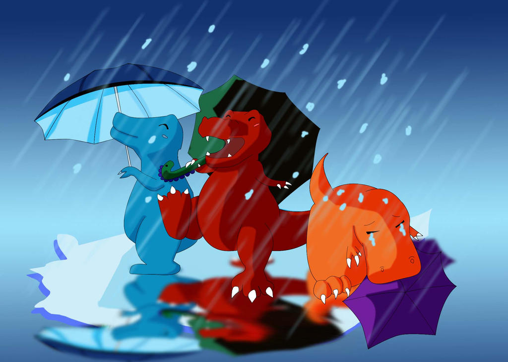 Dinos Dancing in the Rain by CupcakeYukiChan