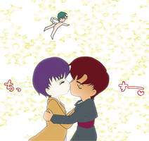 KazuxTachi Chibi Kiss by sylverdragonfly