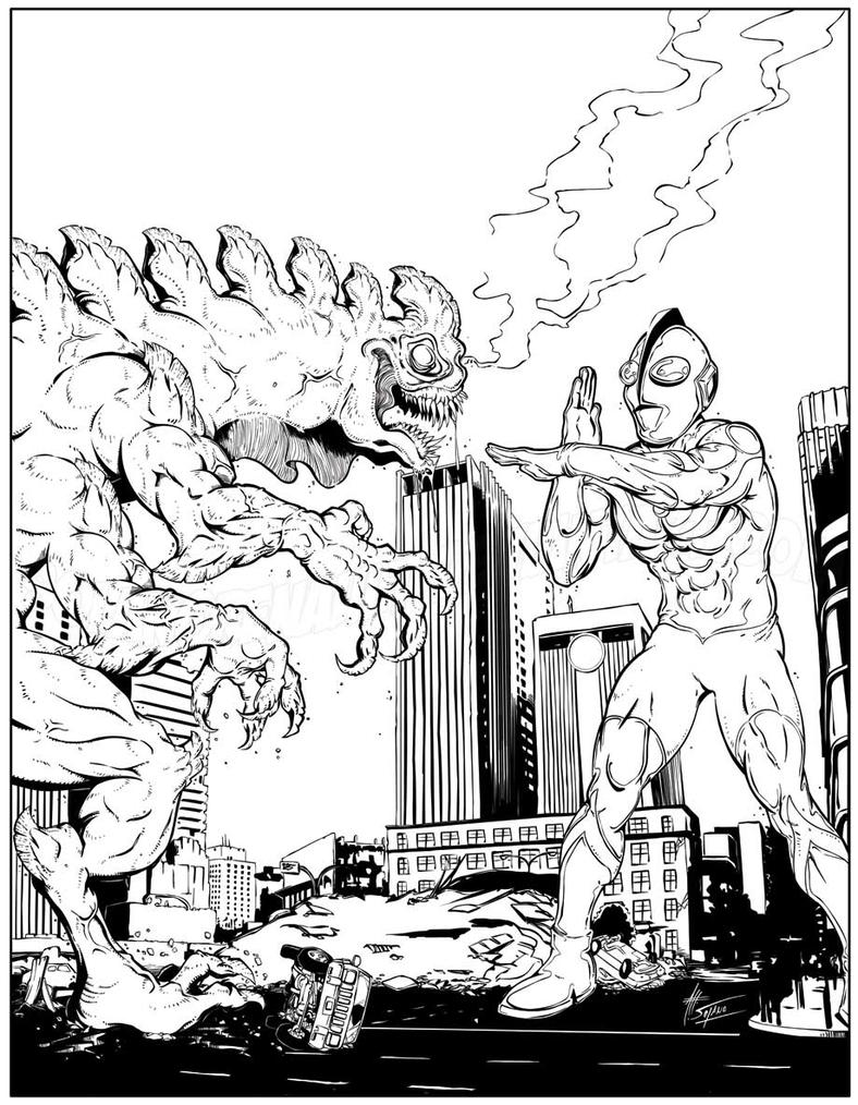 Ultraman vs red king coloring pages