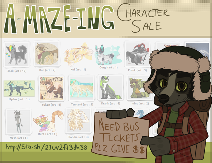 35 CHARACTERS FOR SALE! Quad+Anthro! by maze