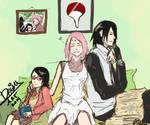 FAMILIA UCHIHA.....  sarada, sakura y sasuke