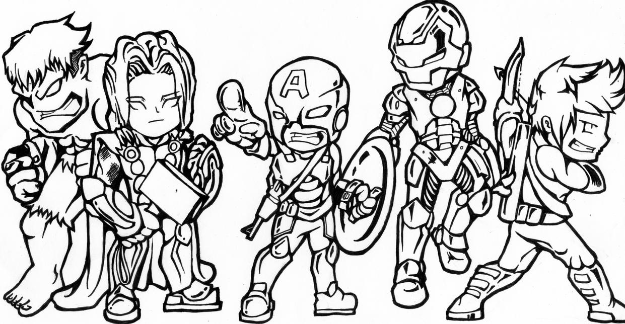 Chibi Avengers Coloring Pages : Avengers chibi version by skulpin on deviantart