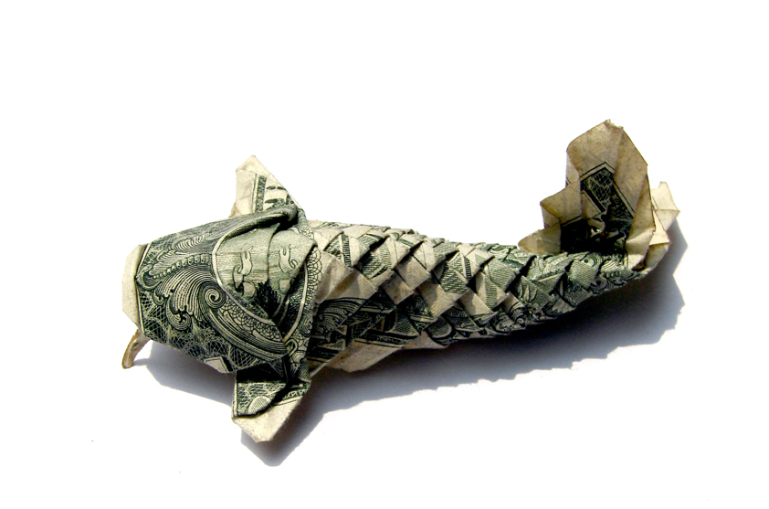 Dollar Origami Koi Fish