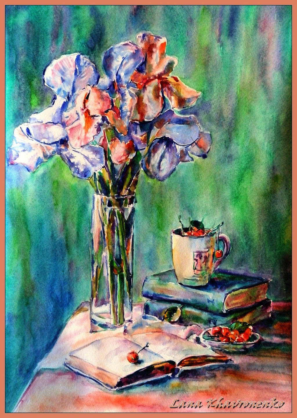 Still life with irises by LORETANA