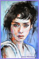 Brunette. watercolor by LORETANA