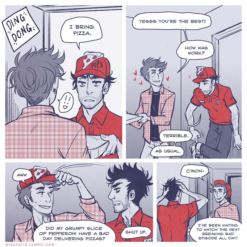 Sterek Pizza AU Page 1 by llllucid