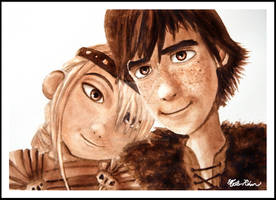 Hiccup and Astrid Watercolor