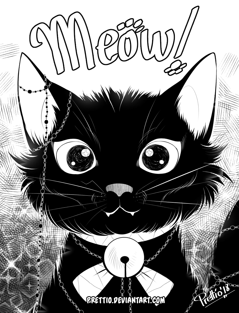 Inktober and Drawlloween 2nd October: Black cat by Prettio