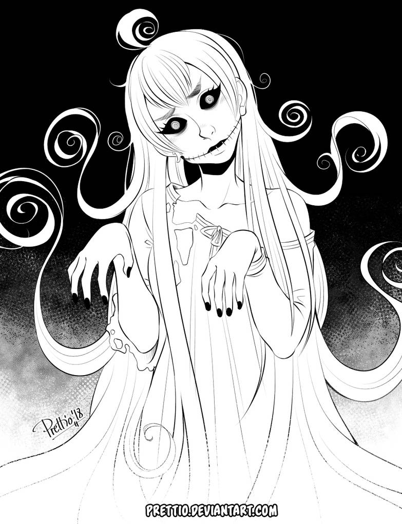 Inktober and Drawlloween 5th October: Ghost by Prettio