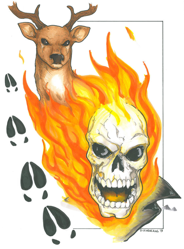 Ghost Rider and Deer by DKHindelang