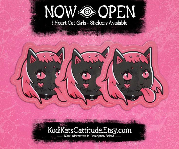 Etsy - I Heart Cat Girls Sticker by KodiKat