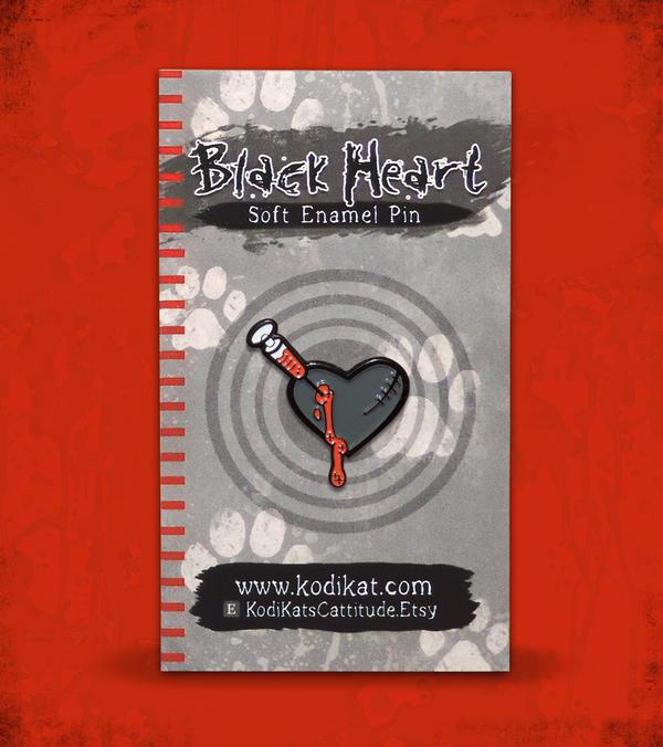 Black Heart Soft Enamel Pin by KodiKat