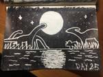Prehistoric marsh at night (inktober day 25)