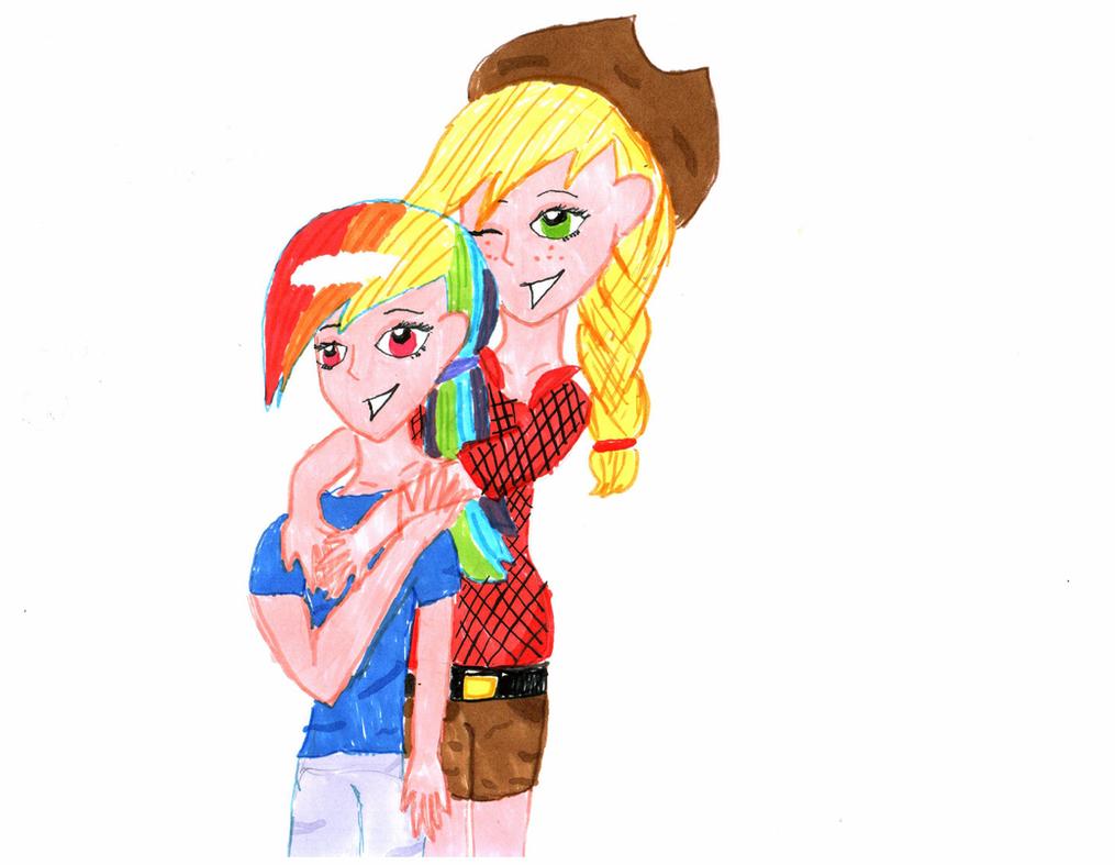 Human Applejack And Rainbow Dash Human Rainbow Dash And