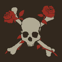 Skull and crossed bones with roses by ZombieRoomie