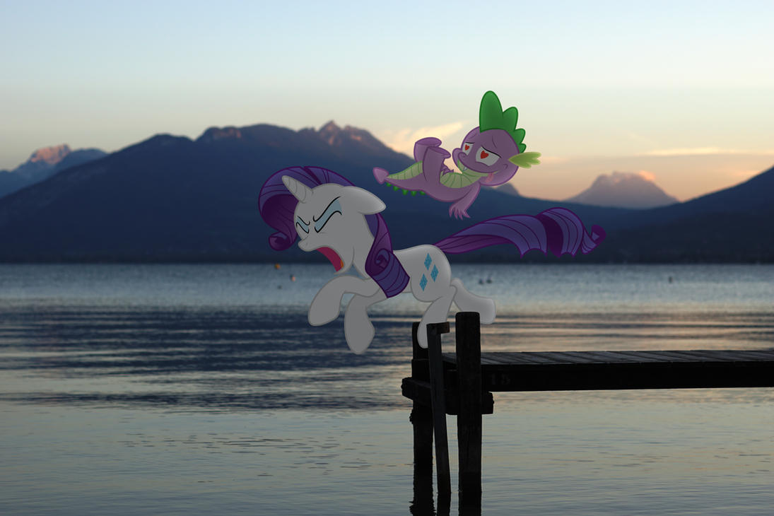 Spike's first date with Rarity by StormXF3