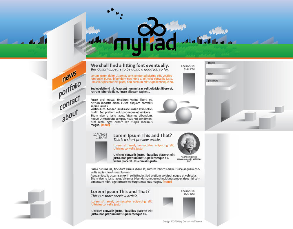 myriad Webdesign - news page final by FireflyAlpha