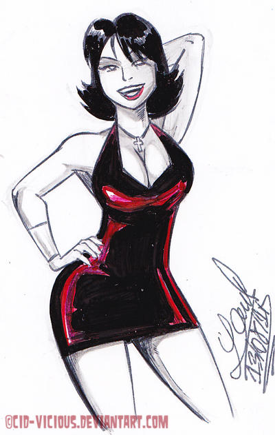 Sketch - Hilda in Red Dress by Cid-Vicious