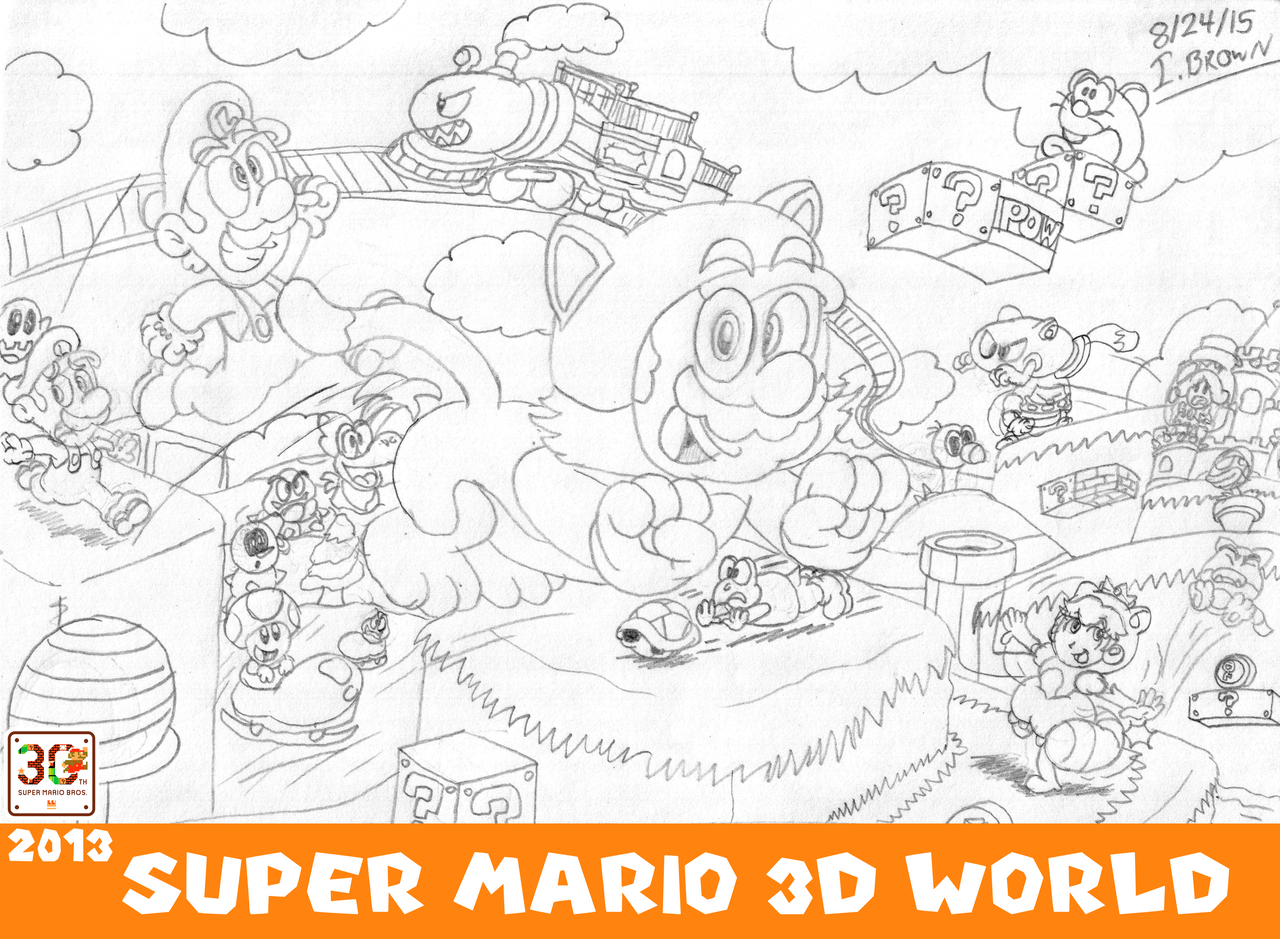 This is a picture of Crazy Super Mario 3d World Coloring Pages