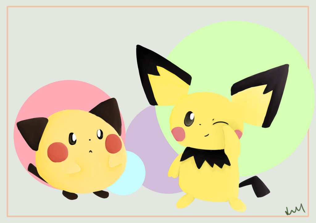 The two Pichu meet by Lineon-RL