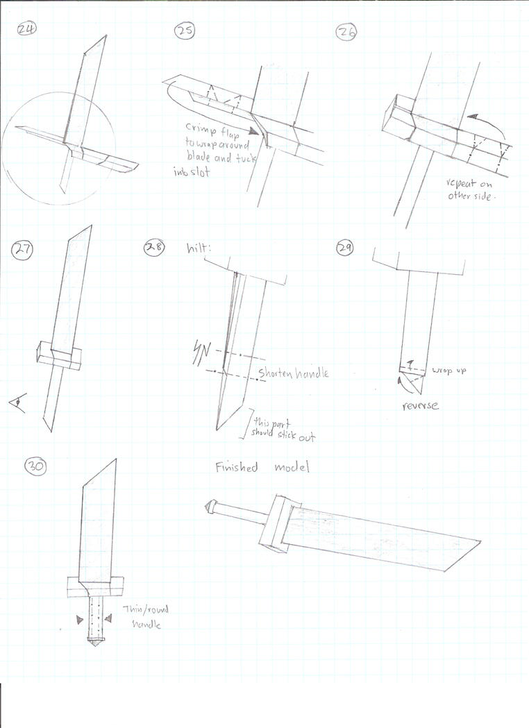 buster sword 3 by cahoonas on deviantart rh deviantart com Origami Sword Directions Origami Sword Directions