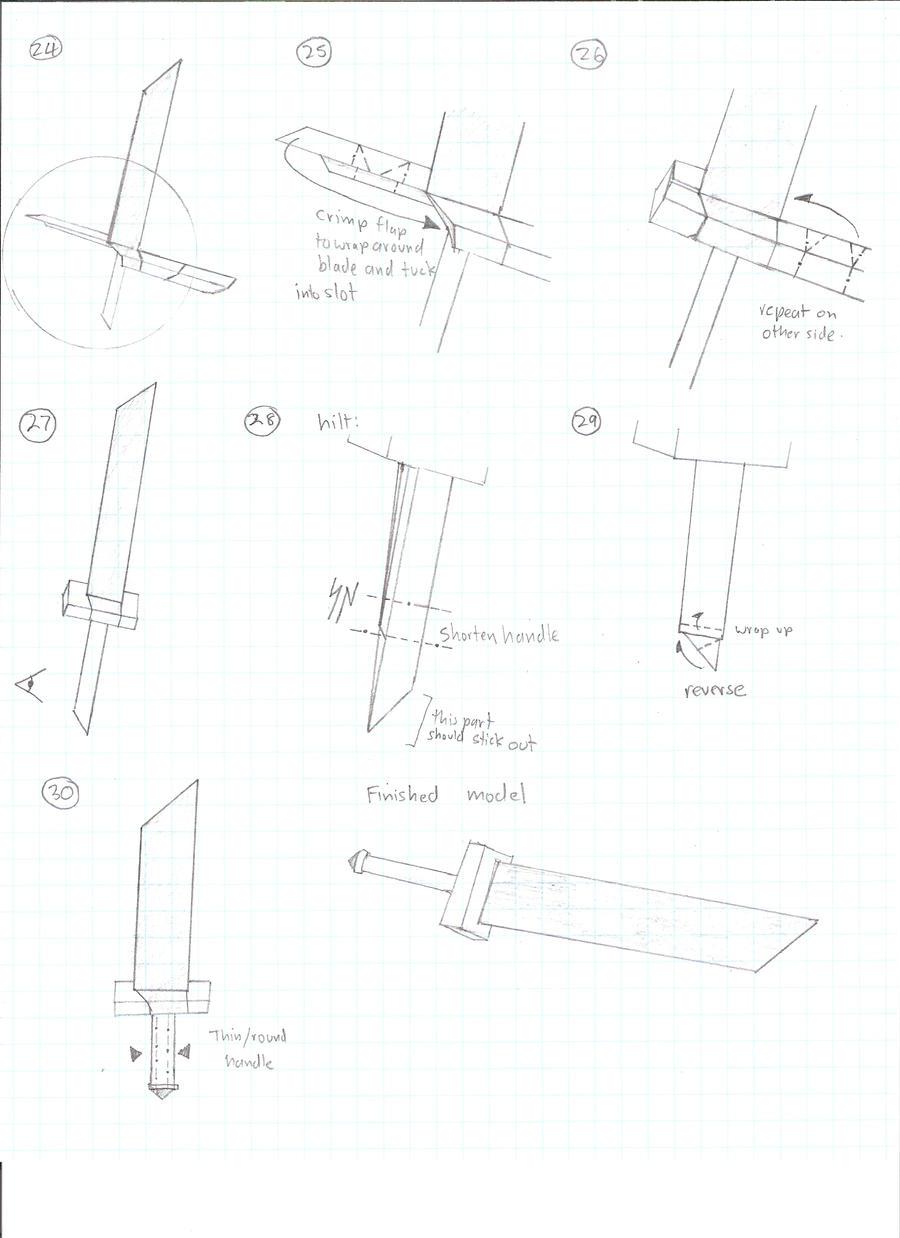 origami sword diagram