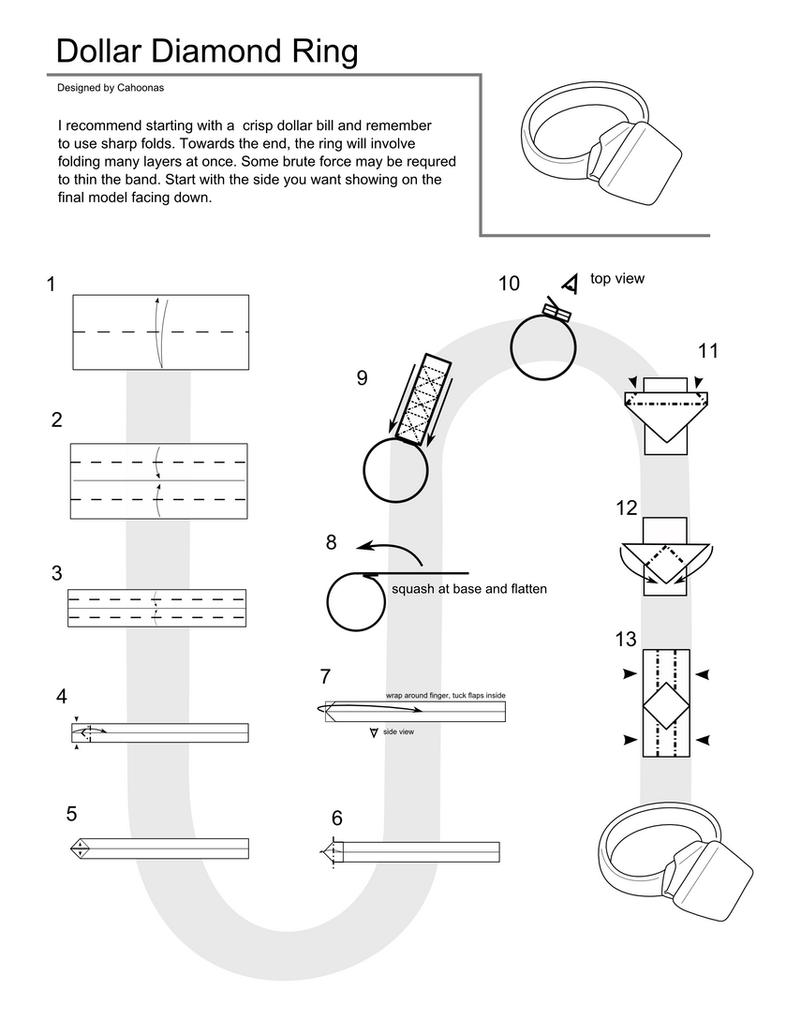 origami dollar ring flat diamond instructions by cahoonas